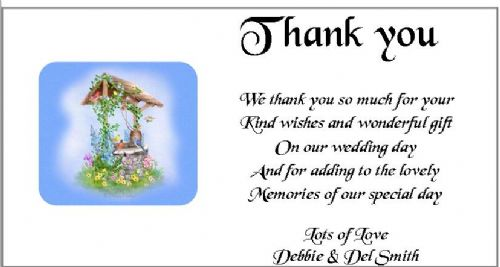 Thank You Gift Cards Wedding Personalised -  Wishing Well Design x 10